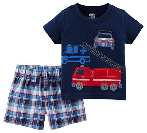 (Child of Mine Emergency Vehicles Baby Boys Shirt and Shorts 2 Piece Outfit Set (3-6)