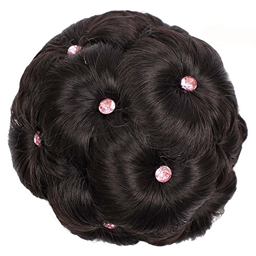 Keliay Cosplay Party Disco Funny Female Wig Hair Ring Curly Bride Makeup Diamond Bun Flowers Chignon Hairpiece -