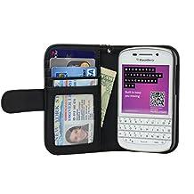 Navor Folio PU Leather Wallet Case for Blackberry Q10 with Money Pocket (Black)