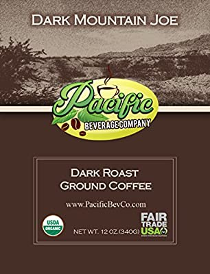 Dark Roast Ground Coffee Dark Mountain Joe Certified Organic Fair Trade 12 Ounce Pouch