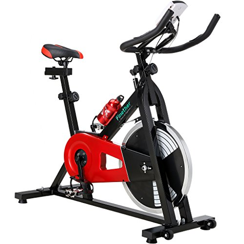Finether Exercise Bike, Indoor Chain Driven Cycling Bike Stationary Bicycle with Flywheel, Pulse, Water Bottle and Transport Wheels, 5.6 feet Height and 265 lbs Weight Capacity, Red by Finether