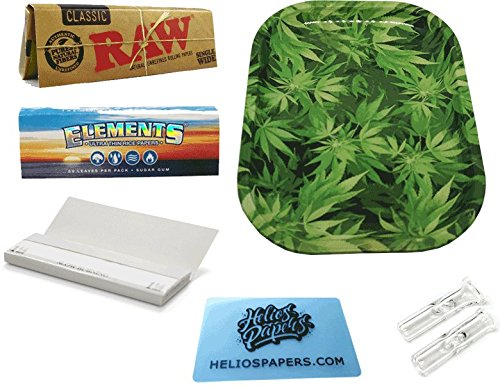 Dabble Dabs Small Leaf Tray with RAW Single Wide Classic Papers & ELEMENTS Single Wide Rice Rolling Papers & Plain Rolling Papers With 2x Glass Tips & Scoop Card