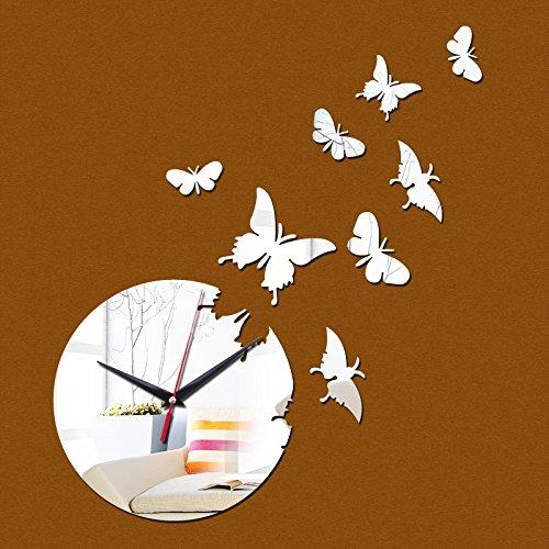 Acrylic Traveler Mirror (EverTrust(TM) direct selling Acrylic Quartz wall watch the butterfly mirror clocks 3d Modern home decoration diy clock gift)