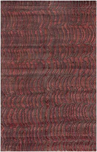 Owanka Handmade Updated Bohemian 2' x 3' Rectangle 100% Semi-Worsted New Zealand Wool Burnt Orange/Camel Area Rug
