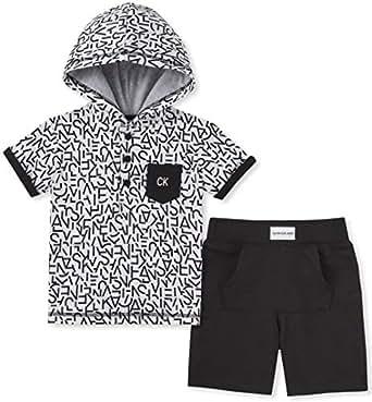Calvin Klein Baby Boys 2 Pieces Hoody Shorts Set, Black/White, 12M