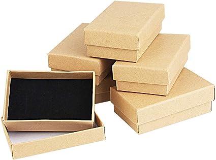 Kbnian 24pcs Cajas de Regalo Rectangulares 8 x 5 x 2,8 cm Papel Kraft Cajas de Cartón con Espuma para Joyeria de Boda/Cumpleaños/Fiesta, Pendientes, Pulseras, Anillos - Marrón: Amazon.es: Oficina y papelería