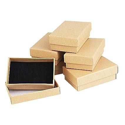 Kbnian 24pcs Cajas de Regalo Rectangulares 8 x 5 x 2,8 cm Papel Kraft Cajas de Cartón con Espuma para Joyeria de Boda/Cumpleaños/Fiesta, Pendientes, ...