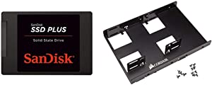 "SanDisk SSD Plus 1TB Internal SSD - SATA III 6 Gb/s, 2.5""/7mm, Up to 535 MB/s - SDSSDA-1T00-G26 & Corsair Dual SSD Mounting Bracket 3.5"" CSSD-BRKT2"