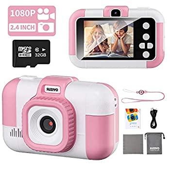 SUZIYO Youngsters Digital camera, Youngsters Digital Selfie Video Camcorder 1080P Twin Lens 2.4 Inch HD, Birthday Christmas Digital Presents Toys for Age 3-9 Years Outdated Toddlers Ladies & Boys (with 32G TF Card,Pink)