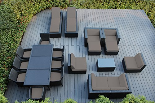 Ohana 20-Piece Outdoor Patio Furniture Sofa, Dining and Chaise Lounge Set, Black Wicker with Sunbrella Taupe Cushions – Free Patio Cover