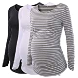 Liu & Qu Womens Maternity Classic Side Ruched T-shirt Tops Mama Pregnancy Clothes