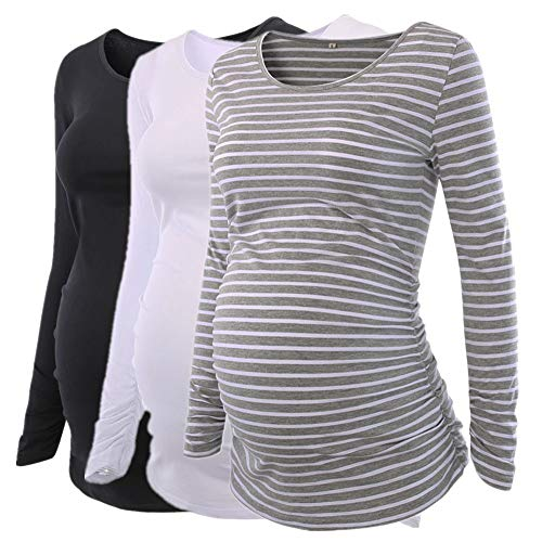 Liu & Qu Womens Maternity Classic Side Ruched T-shirt Tops Mama Pregnancy Clothes by Liu & Qu