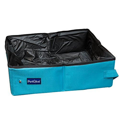 PetLike Collapsible Portable Pet Litter Box By Travel Foldable Toilet Tray For Cats, Kittens, Puppies And Other Pets Lightweight Sturdy Ideal For Car Drive And Emergencies