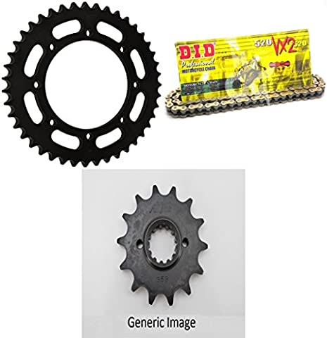 DID 520VX2 Pro-Street X-Ring VX Series Chain Natural Steel, SUNSTAR Front & Rear Sprocket Kit for Street KAWASAKI KLR 650 - Steel Sprocket Kit
