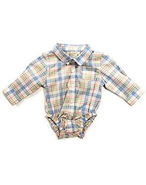 Baby Boy's Plaid Button Front Bodysuit