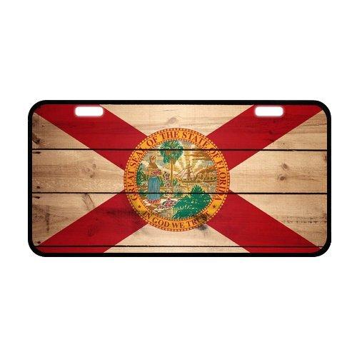 "Retro Style Florida Flag US State Durable Aluminum Car License Plate 11.8"" x 6.1"""