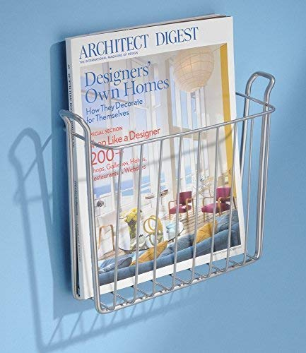 Metal Bathroom Magazine Holder Silver Interdesign Classico Wall Mounted Magazine Rack Magazine Newspaper Holders Decorative Accessories