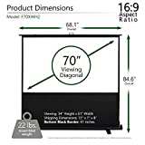 Elite Screens ezCinema 2, Manual Floor Pull Up with Scissor Backed Projector Screen, 70-inch 16:9, Portable Home Theater Office Classroom Projection Screen with Carrying Bag, F70XWH2