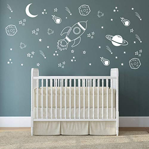 Space Wall Decal Nursery, Outer Space Decor, Rocket Decal, Boy Room Decor, Space Ship Decal, Space Themed Room, Planets Wall Decal for Baby Boys Nursery(A37) (White) (Baby Wall Decal White)