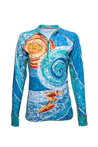 Bold Babe Women's Sun Protective Long Sleeve Zip Neck - SPF Clothing Perfect for Enjoying The Outdoors - The Surfer (X-Small) (Long Babe Sleeve Tee Ladies)