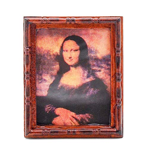 Odoria 1:12 Miniature Monalisa Paintings Reproduction with Wooden Fram Wall Art Dollhouse Decoration Accessories ()