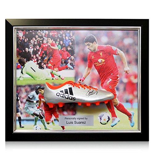 Luis Suarez Signed Football Boot  Framed Liverpool Presentation  83ba64d22