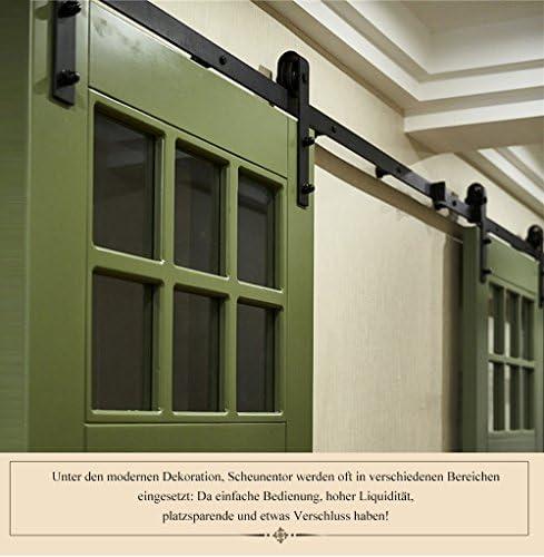 Herrajes Puertas Correderas, Guia Puerta Corredera kit 6.6Ft 200cm o 6Ft 183cm Juego de Piezas de Metal Rieles Rodillo Rueda de la Puerta (Doblado, 6.6Ft 200cm): Amazon.es: Bricolaje y herramientas