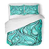 Emvency 3 Piece Duvet Cover Set Brushed Microfiber Fabric 70S Stunning Abstract Stained Glass Window in Teal and Turqoise Tones High 60S Breathable Bedding Set with 2 Pillow Covers Twin Size