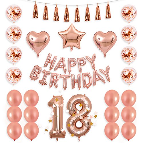 BALONA 40inch Rose Gold 18th Number Balloon 12inch Rose Gold Confetti Balloon with Happy Birthday Banner Star Balloon Heart Balloon Foil Rose Gold Tassel Garland for Birthday Party Decoration (Rose18)