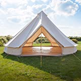 PlayDo 6M/19.6FT Bell Tents Glamping With Mesh Door Mosquito Screen Ground Sheet Waterproof Cotton Canvas For Family Large Luxury Camping Tents For Outdoor Hiking Birthday Party (White, 6M)