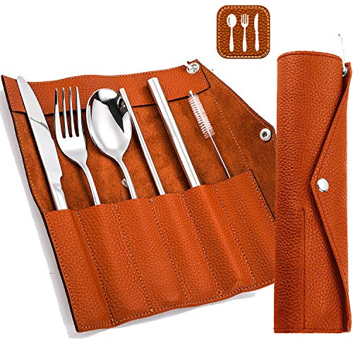 Portable Cutlery Set with Bag, Travel Camping Utensils Set, Stainless Steel Flatware set with Leather Pouch- Full Size…