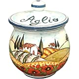 CERAMICHE D'ARTE PARRINI- Italian Ceramic Garlic Brings Jar Holder Hand Painted Made in ITALY Decorated Poppies Landscape Tuscan Art Pottery