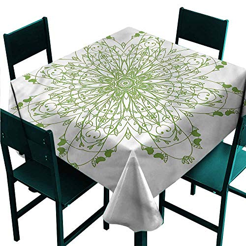 DONEECKL Square Tablecloth Celtic Laurel Leaves Flower Circle Indoor Outdoor Camping Picnic W50 xL50 (Celtic Pewter Cake)