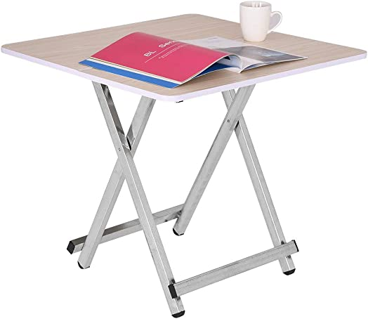 Modern Portable Folding Table Home Dining Table Casual and Convenient Folding Table, Sofa Table, TV Tray Couch Table 23.6 23.6 21.7in, Wood Grain