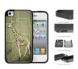 Safari Giraffe On Scrap Newspaper 2-Piece Dual Layer High Impact Rubber Silicone Cell Phone Case Apple iPhone 4 4s