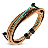 Natural Leather Multi-strand Bracelet with Accent Color Cords, Adjustable Fit for Men and Women