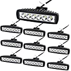 Dr.OX 10PCS 6 in 18W Suqare Spot LED Work Light Bar for Off- road Van Jeep SUV Truck Car ATV 4WD 4×4 RV UTE Tractor Vehicle Boat Driving Work lights Fog Lamp