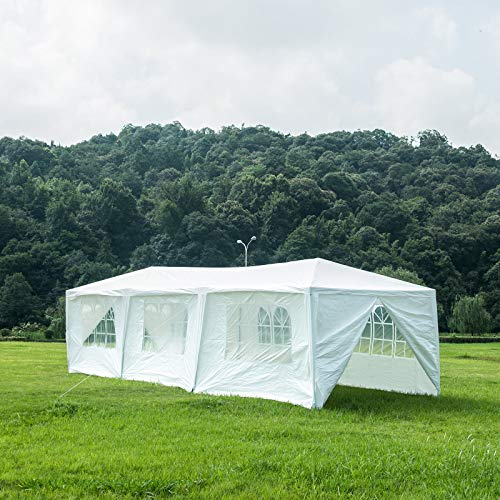 Uenjoy 10x30 Party Tent Canopy Wedding Tent Event Tent Outdoor Gazebo White with 8 Sidewall
