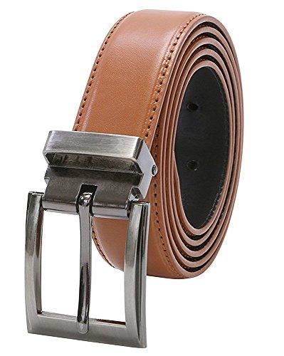 (Men's Solid Leather Belt (36, Cognac) style)