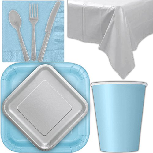 Disposable Party Supplies for 28 Guests - Powder Blue and Silver - Square Dinner Plates, Square Dessert Plates, Cups, Lunch Napkins, Cutlery, and Tablecloths: Premium Quality Tableware Set