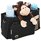 All in 1 Stroller Organizer: Spacious Handlebar Console & Portable Diaper Bag + Changing Mat & Deeper Insulated Cup Holders, Parents Car Caddy & Shoulder Bag. Universal Fit Jogging & Walking Accessory