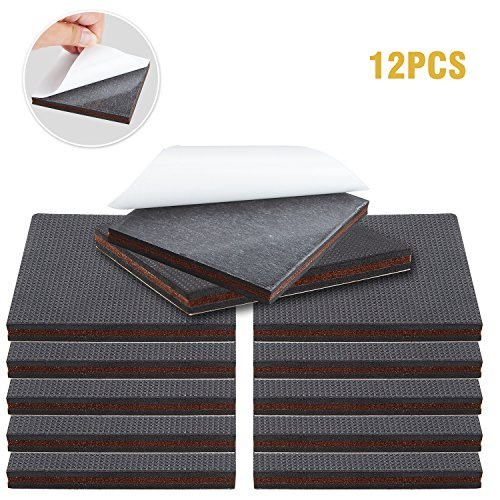 Non Slip Furniture Pads - Premium 12 pcs 4 Furniture Pad! Best Self Adhesive Furniture Grippers Rubber Feet Couch Stoppers - Ideal Furniture Floor Protectors Furniture Feet for Fix Furniture