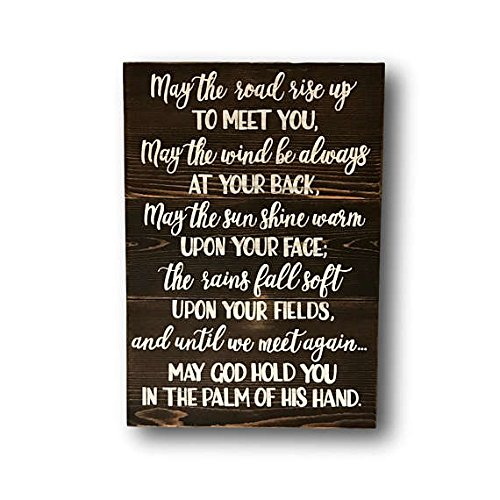 (Wood Plaque Irish Blessing Pallet Sign - Irish Quote Wall Art - Irish Wedding Gift - Irish Sayings - May The Road Rise Up To Meet You- Housewarming Gift 16