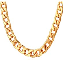 TUOKAY 18K Faux Gold Chain Necklace, 90s Punk Style Necklace Costume Jewelry, Hip Hop Turnover Chain Necklace, Stainless Steel (24 inches, 10mm)