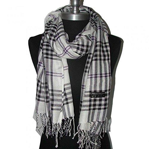White_(US Seller)Women Men Tartan Plaid cape scarf Fashion (Decorative Deck Fringe)