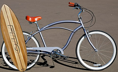 Fito Anti Rust Light Weight Aluminum Alloy Frame Marina Alloy 7 Speed 26 Wheel Mens Beach Cruiser Bike Bicycle Matte Gray