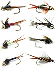 Fly Fishing Lures for Big Trout and Other Freshwater Fish - Set of 16 Hand Tied Fishing Flies - 8 Patterns in
