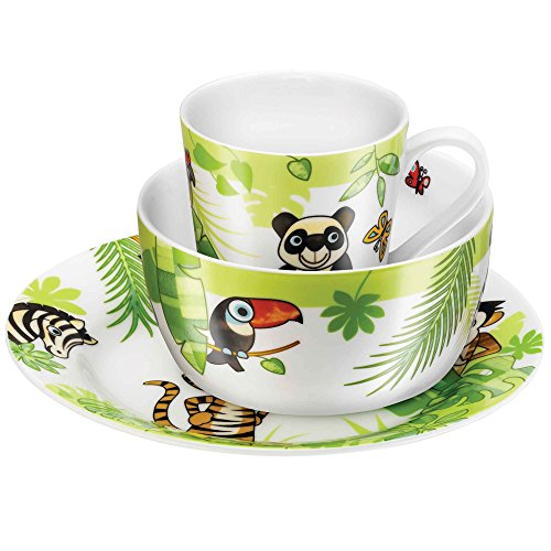 Zwilling JA Henckels 36200-006 Twin Kids Jungle 3-Piece Porcelain Dinnerware Set, - Dinnerware Child 3 Piece Set
