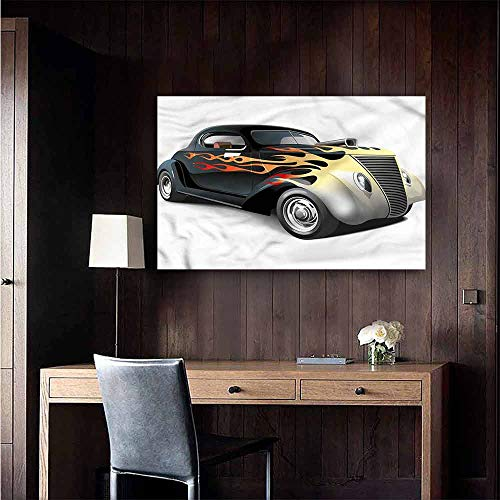 Gabriesl Art Decor 3D Wall Mural Wallpaper Stickers Vintage Retro 40s Drag Car Art Mural Decals Size : W28 x H20 ()