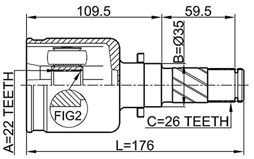 Inner CV Joint Left 22X35X26 For Mazda Fg0222620A